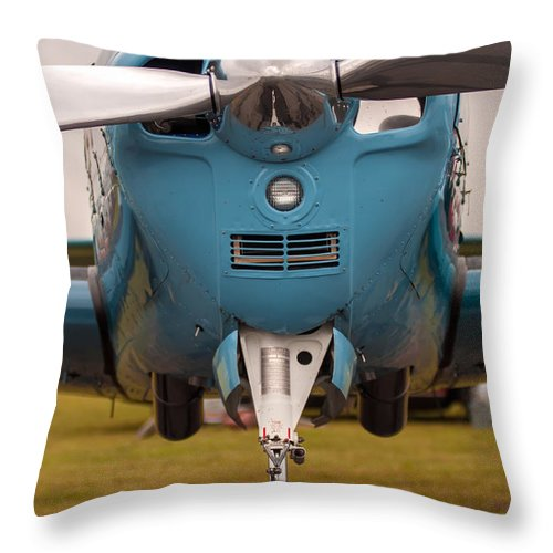 Action Throw Pillow featuring the photograph Front Of An Airplane Propeller by Alex Grichenko