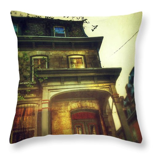 House Throw Pillow featuring the photograph Front Of Old House by Jill Battaglia