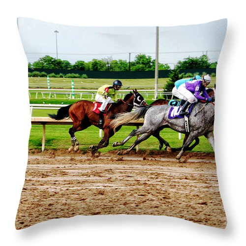 Horse Racing Throw Pillow featuring the photograph Front Runners 026mx by Earl Johnson