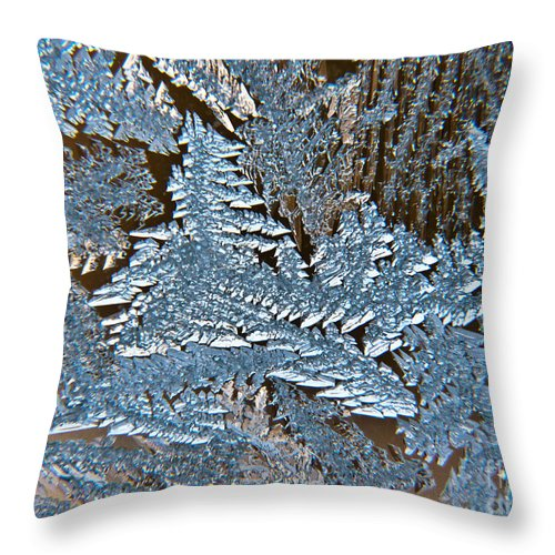 Frost Throw Pillow featuring the photograph Frost Macro by Cheryl Baxter
