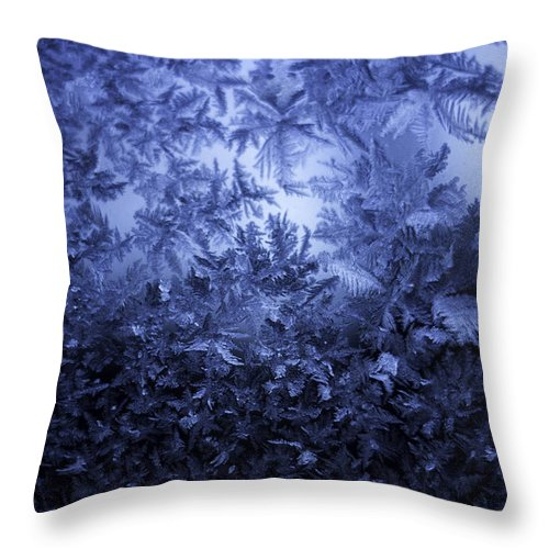 Ice Throw Pillow featuring the photograph Frost on window #3 by Nathan Seavey