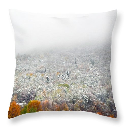 Fall Throw Pillow featuring the photograph Frosty Fall by Mary Cloninger
