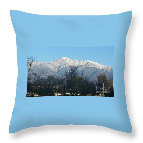 Frosty Mountain Top Throw Pillow featuring the photograph Frosty Mountain Top View From Rancho Cucamonga Ca. by Sandra Harrison