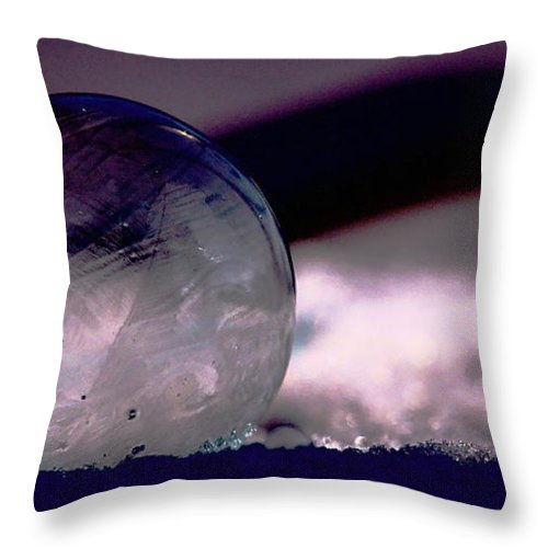 Winter Throw Pillow featuring the photograph Frozen Bubble by Dave Smith