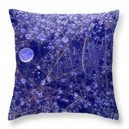 North America Throw Pillow featuring the photograph Frozen Bubbles In The Merced River Yellowstone Natioinal Park by Dave Welling
