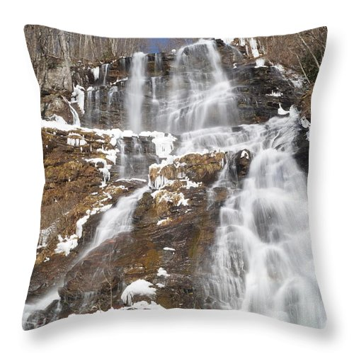 Amicalola Falls Georgia State Park Waterfall River Winter Ice Snow Mountain Trees Woods Throw Pillow featuring the photograph Frozen Falls From The Bridge by John Wall