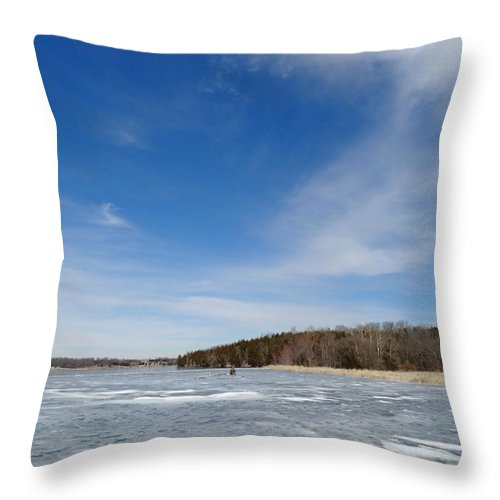 Cloud Throw Pillow featuring the photograph Frozen Lake by Greg Boutz