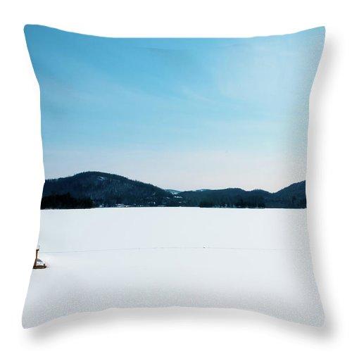 Scenics Throw Pillow featuring the photograph Frozen Lake In Canada by Haja Rasambainarivo