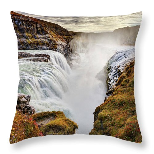 Scenics Throw Pillow featuring the photograph Frozen Mist On Autumn Day At Gullfoss by Anna Gorin