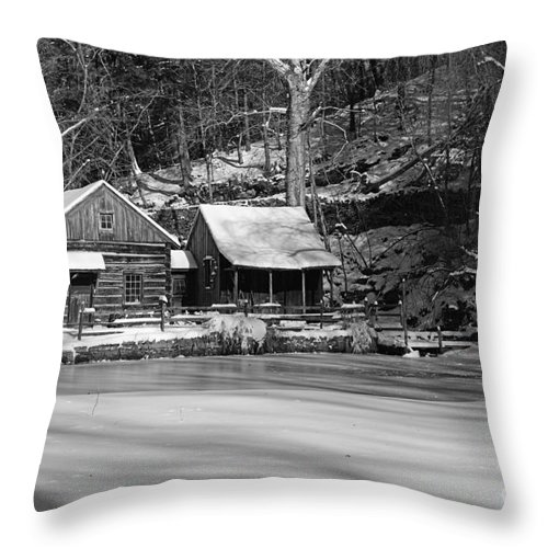 Paul Ward Throw Pillow featuring the photograph Frozen Pond In Black And White by Paul Ward