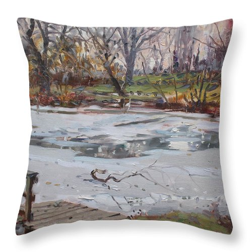 Frozen Pond Throw Pillow featuring the painting Frozen Pond by Ylli Haruni