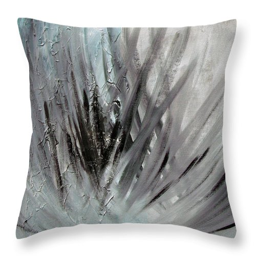 Abstract Throw Pillow featuring the painting Frozen by Sergey Bezhinets