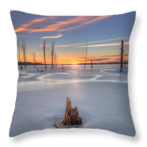 Frost Bite Throw Pillow featuring the photograph Frozen Sunrise by Michael Ver Sprill