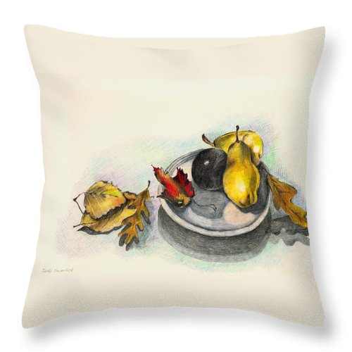 Fruit Throw Pillow featuring the drawing Fruit And Autumn Leaves by Judy Swerlick