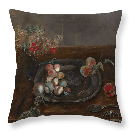 Russia Throw Pillow featuring the painting Fruit And Flowers On A Table by Celestial Images