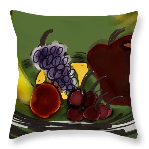 Fruit Throw Pillow featuring the digital art Fruit Bowl by Barbara Marlin