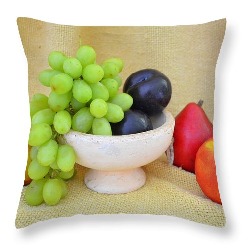 Fruit Throw Pillow featuring the photograph Fruit In Vintage Bowl by Mary Deal