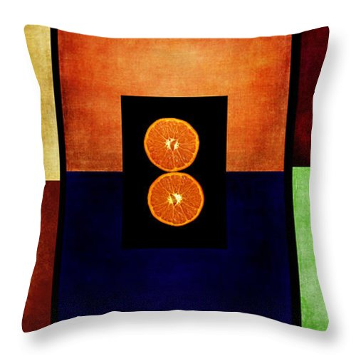 Triptych Throw Pillow featuring the digital art Fruity Triptych by Fran Riley
