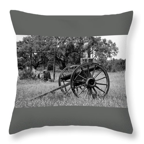 Cannon Throw Pillow featuring the photograph Ft Phantom Hill by Jack Thomas