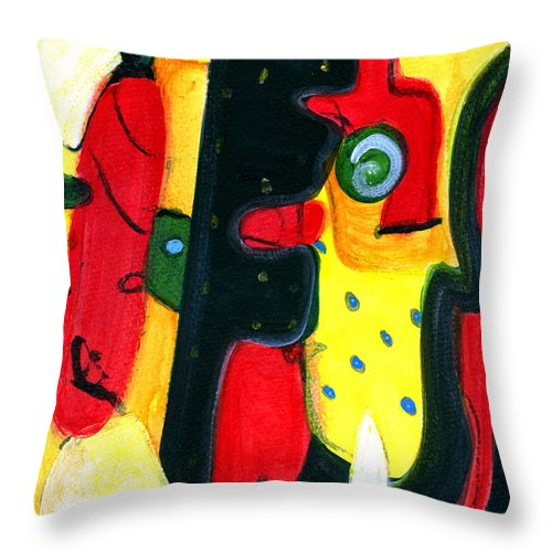 Abstract Art Throw Pillow featuring the painting Fuego by Stephen Lucas