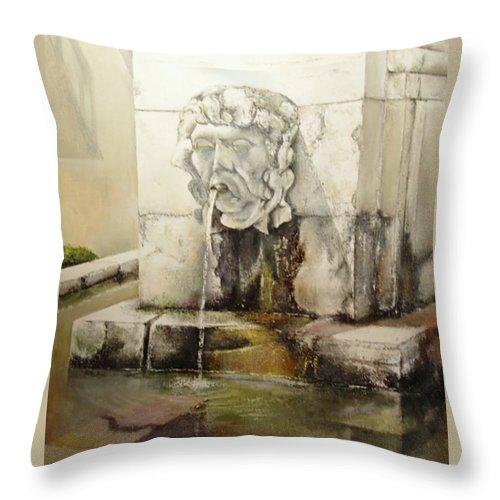 Fuente De San Isidoro- Leon Throw Pillow featuring the painting Fuente de San Isidoro by Tomas Castano