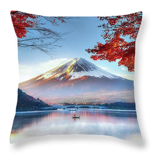 Snow Throw Pillow featuring the photograph Fuji Mountain In Autumn by Doctoregg