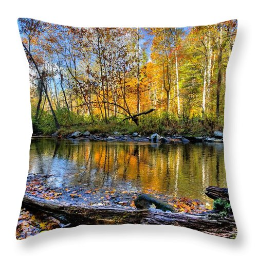 Appalachia Throw Pillow featuring the photograph Full Box Of Crayons by Debra and Dave Vanderlaan