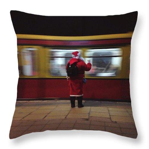 Passenger Train Throw Pillow featuring the photograph Full Length Rear View Of Man In Santa by Monika Kanokova / Eyeem