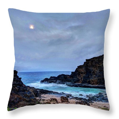 Tranquility Throw Pillow featuring the photograph Full Moon In The Clouds by Julie Thurston