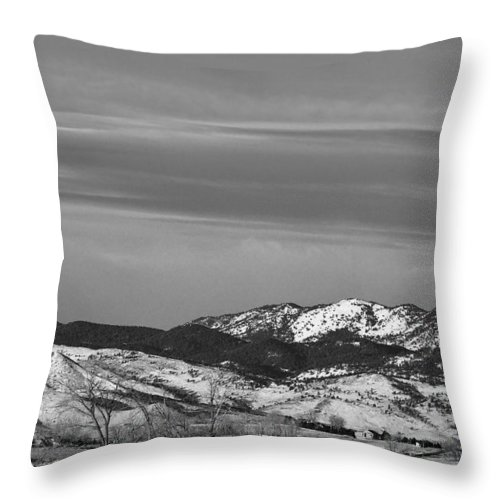 Horse Throw Pillow featuring the photograph Full Moon On The Co Front Range Bw by James BO Insogna