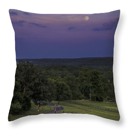 Full Moon Throw Pillow featuring the photograph Full Moon Over The Ozarks by Kevin Whitworth