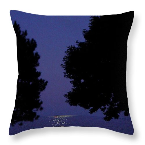 Grosse Pointe Throw Pillow featuring the photograph Full Moon Rise by Dona Dugay
