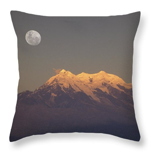 Bolivia Throw Pillow featuring the photograph Full Moon Rise Over Mt Illimani by James Brunker