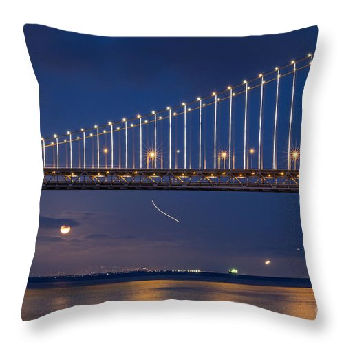 Bay Bridge Throw Pillow featuring the photograph Full Moon Rising by Kate Brown