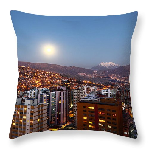 La Paz Throw Pillow featuring the photograph Full Moon Rising Over La Paz by James Brunker