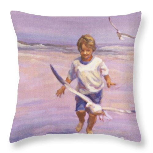 Beach Prints Prints Throw Pillow featuring the painting Fun And Games by Lucelle Raad