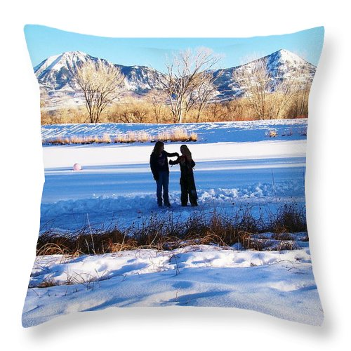 Winter Throw Pillow featuring the photograph Fun On The Ice by Dale Jackson