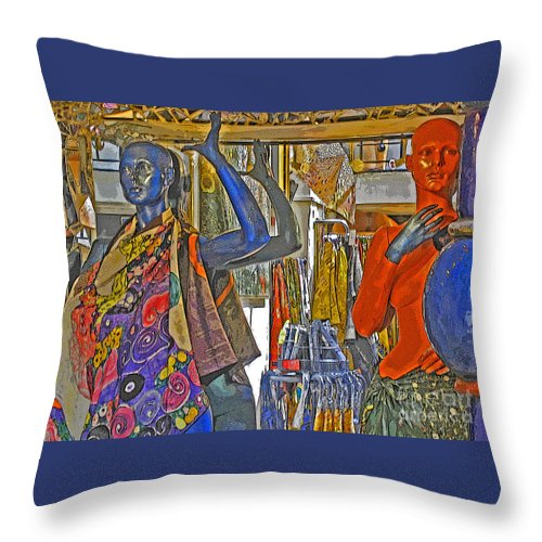 Fashion Throw Pillow featuring the photograph Funky Boutique by Ann Horn