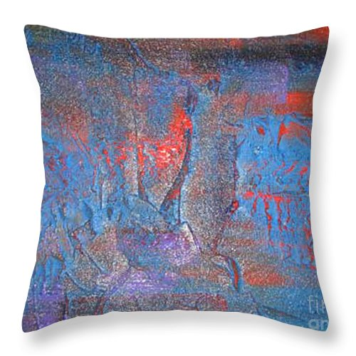 Abstract Throw Pillow featuring the painting Funny Rain by Silvana Abel
