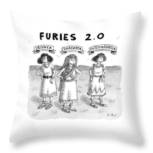 Captionless Greek Mythology Throw Pillow featuring the drawing Furies 2.0 -- Ironia by Roz Chast