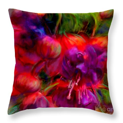Fuschia Throw Pillow featuring the painting Fuschia Excitement by Francine Dufour Jones