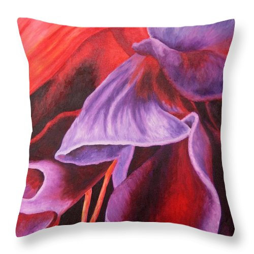 Floral Throw Pillow featuring the painting Fuschia Folds by Darla Brock