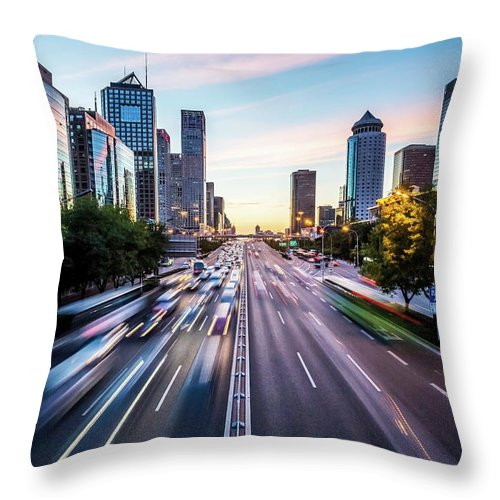 Scenics Throw Pillow featuring the photograph Futuristic City At Dusk by Itsskin