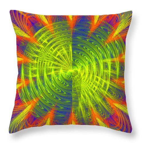 Fractal Throw Pillow featuring the photograph Futuristic Disc Blue Red And Yellow Fractal Flame by Keith Webber Jr