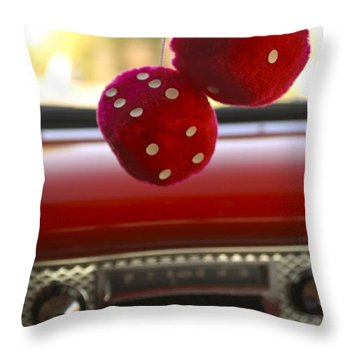 Fuzzy Dice Throw Pillow featuring the photograph Fuzzy Dice by Jill Reger