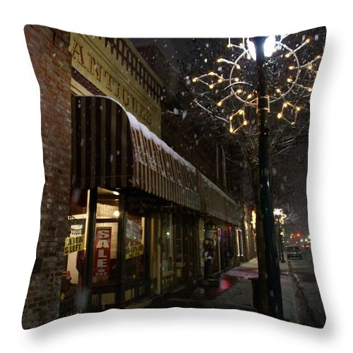 Snow Throw Pillow featuring the photograph G Street Antique Store In The Snow by Mick Anderson