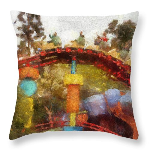 Toontown Disney Land Throw Pillow featuring the photograph Gadget Go Coaster Disneyland Toontown Photo Art 02 by Thomas Woolworth