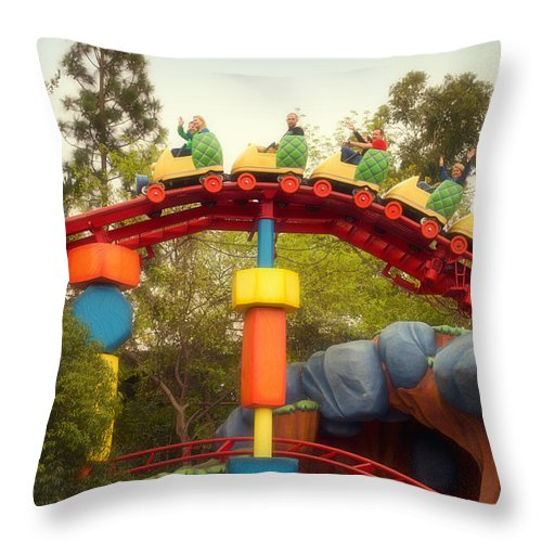Toontown Disney Land Throw Pillow featuring the photograph Gadget Go Coaster Disneyland Toontown by Thomas Woolworth