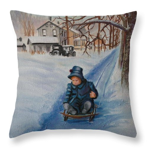 Snow Scene Throw Pillow featuring the painting Gails Christmas Adventure by Lora Duguay