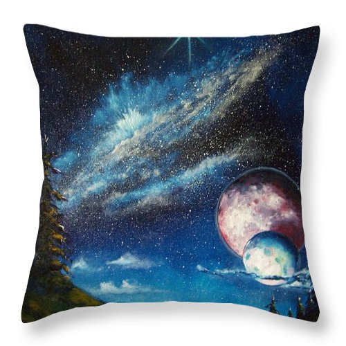 Space Horizon Throw Pillow featuring the painting Galatic Horizon by Murphy Elliott